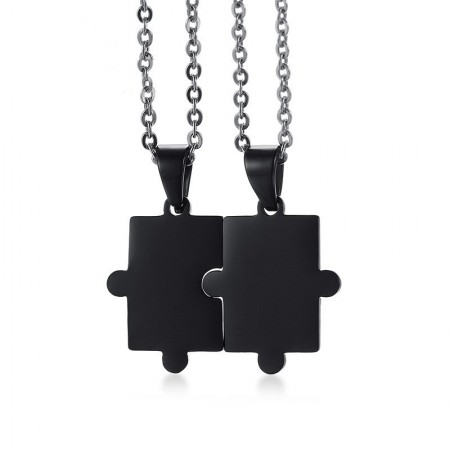Engravable Black Matching Puzzle Necklaces For Couples In Titanium