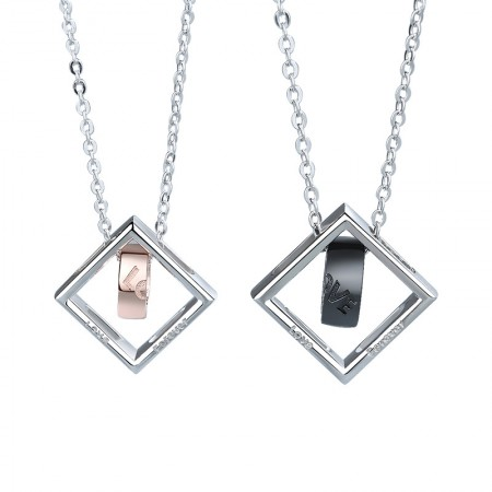 Unique Love Forever Matching Necklaces For Couples In Sterling Silver