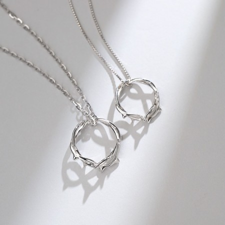 Unique Thorns Matching Necklaces For Couples In Sterling Silver