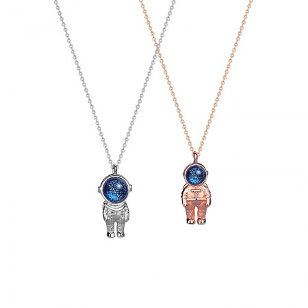 Cute Astronaut Matching Necklaces For Couples In Sterling Silver