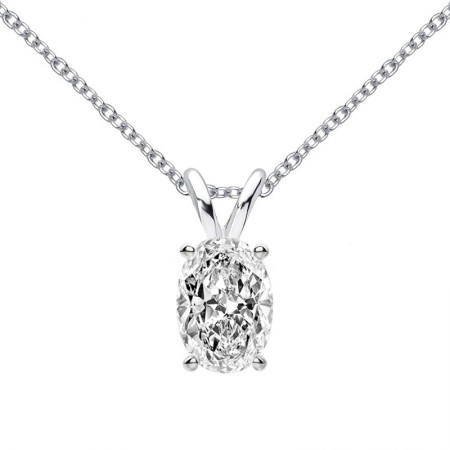 Classic 1Ct Oval Cut Moissanite Pendant Necklace 925 Sterling Silver Necklace for Women