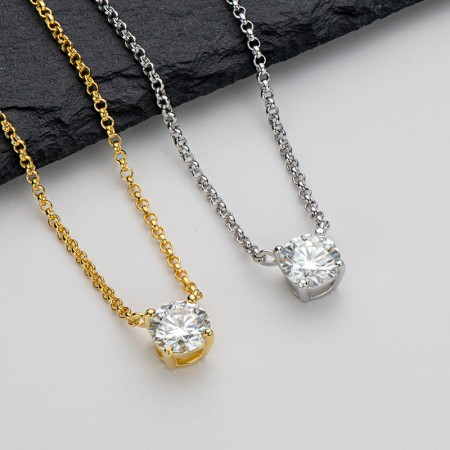Moissanite Necklace 925 Sterling Silver 1.0 CT Round Cut Solitaire Pendant Necklace for Women