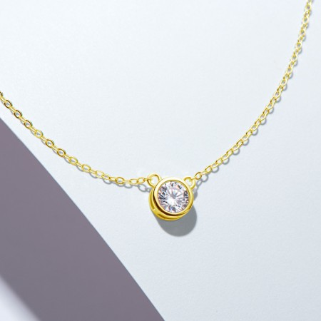 Fashion Moissanite Necklace 925 Sterling Silver 1.0 CT Round Cut Solitaire Pendant Necklace for Women