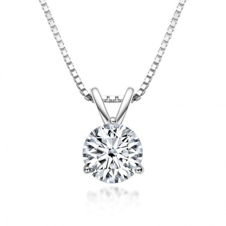 High Quality Moissanite Necklace 925 Sterling Silver 1.0 CT Round Cut Solitaire Pendant Necklace for Women