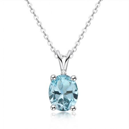 High Quality 925 Sterling Silver Topaz gemstone/Amethyst gemstone/Citrine gemstone Oval Cut Pendant Necklace for Women