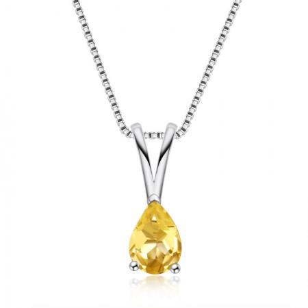 Fashion 925 Sterling Silver Topaz gemstone/Citrine gemstone Pear Cut Pendant Necklace for Women