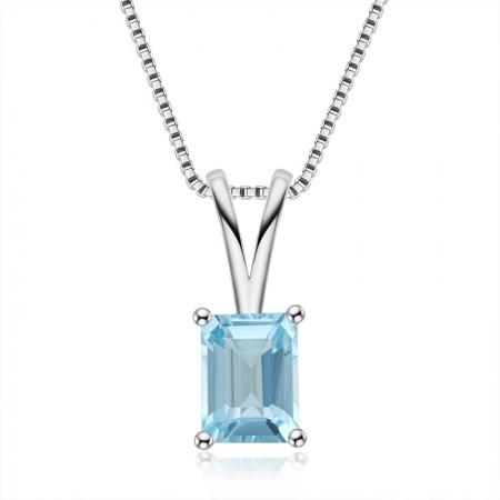 High Quality 925 Sterling Silver Topaz gemstone/Amethyst gemstone/Citrine gemstone Emerald Cut Pendant Necklace for Women