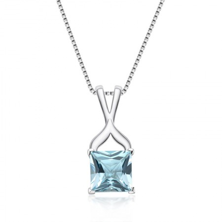High Quality 925 Sterling Silver Topaz gemstone Princess Cut Pendant Necklace for Women