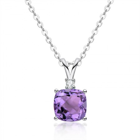 High Quality 925 Sterling Silver Amethyst gemstone/Citrine gemstone Cushion Cut Pendant Necklace for Women