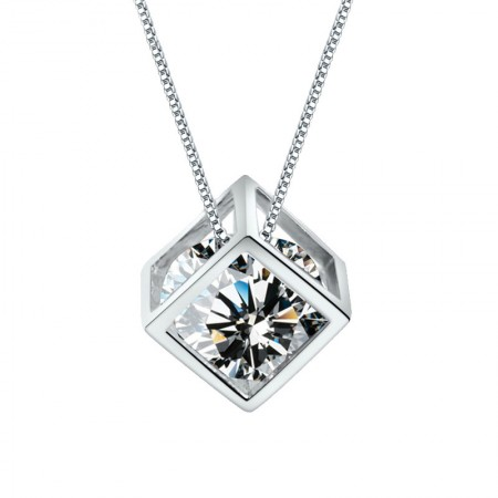 Cube Love Pendant Crystal Necklace