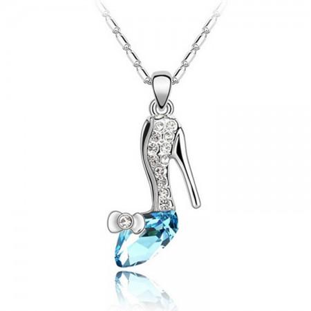 Cinderella Slipper Dream Pendant Crystal Necklace