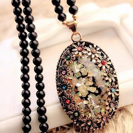 Color Shell Opal Long Sweater Necklace