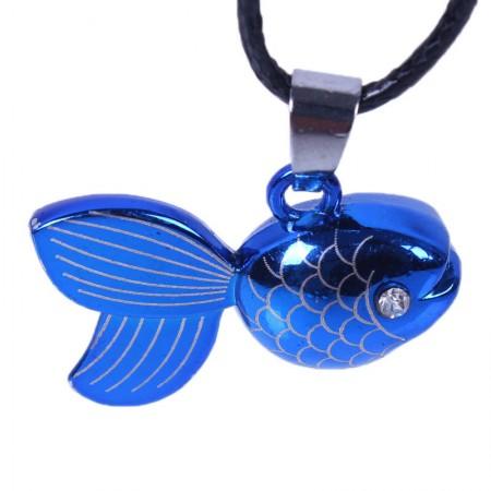 Blue Small Goldfish Titanium Necklace