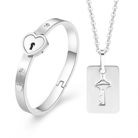 Titanium Steel Men's Key Necklace And Women's Lock Bracelet