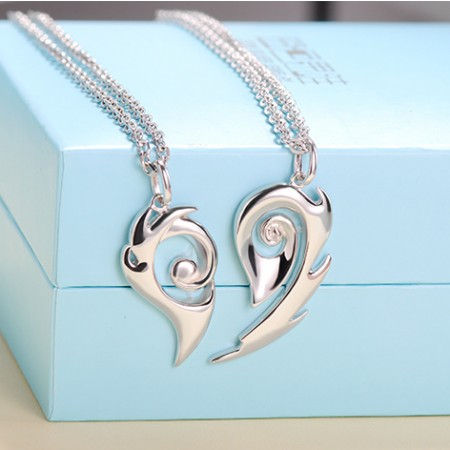 Romantic 925 Sterling Silver Soulmate Design Lover Necklace(Price For A Pair)