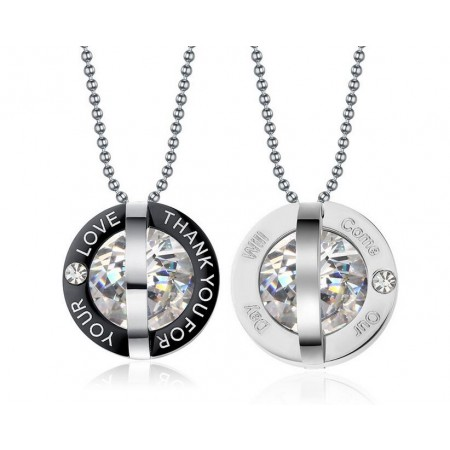 Romantic Thank You For Your Love Stainless Steel Cubic Zircon Lover's Necklace