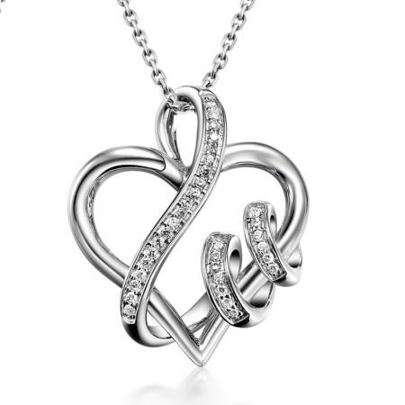 Love keepsake heart-shaped 925 silver Necklace