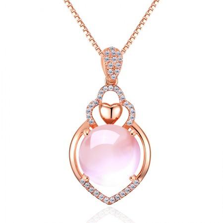 Natural Prehnite Gemstone Heart Shape 925 silver Necklace