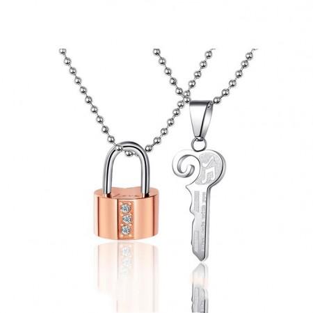 Fashion Titanium Steel Keylock Couple Necklaces