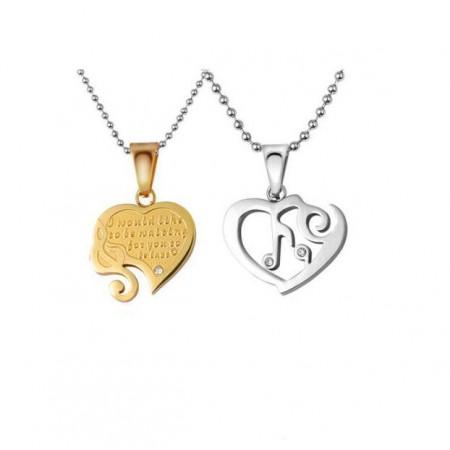 Love Combination Titanium Steel Couple Necklaces