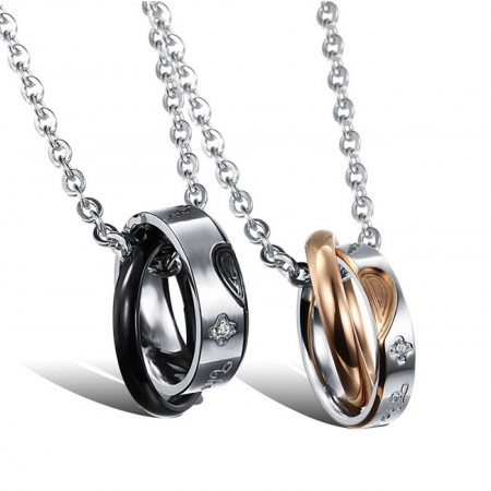 New Heart-Shaped Titanium Steel Couple Necklaces