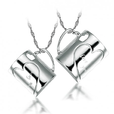 Heart-Shaped Cup 925 Sterling Silver Couple Necklaces