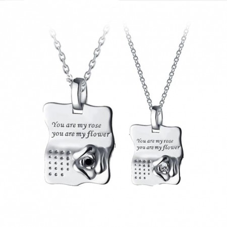 Rose Sterling Silver Couple Necklaces