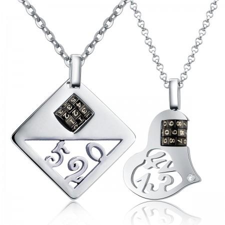 Love Password Titanium Steel Couple Necklaces