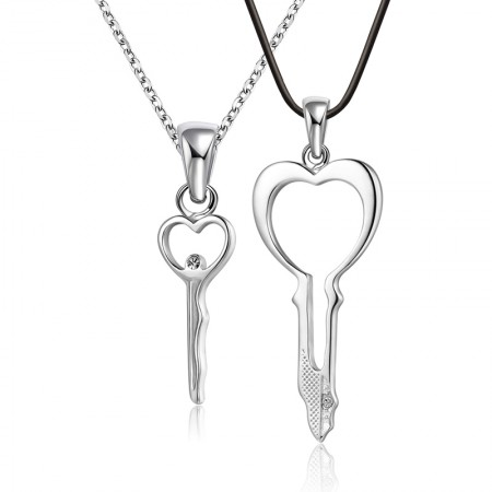 925 Silver Key Couple Necklaces