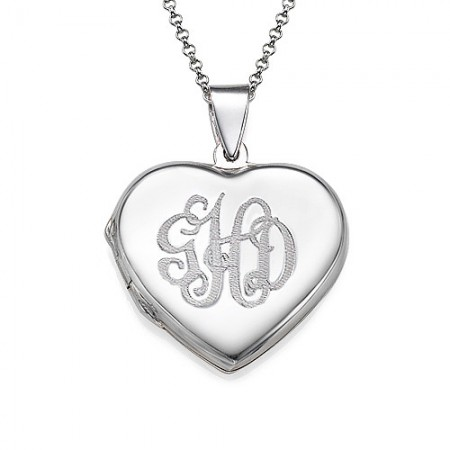 Monogrammed Heart Locket Necklace