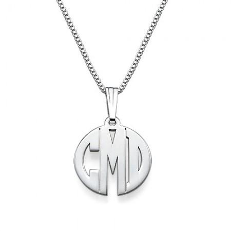 Xs Block Monogram Necklace In Silver