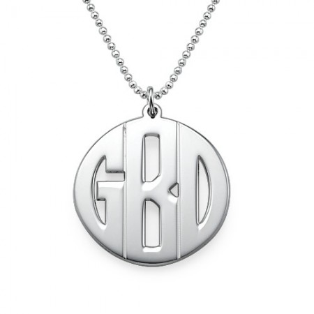 Personalized Sterling Silver Block Monogram Necklace