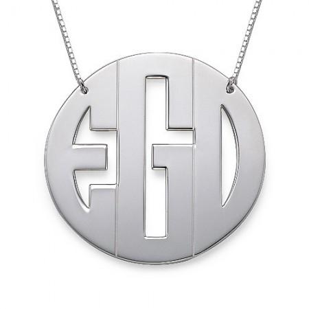 Xxl Large Block Monogram Necklace
