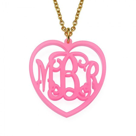 Monogrammed Heart - Acrylic Pendant Necklace