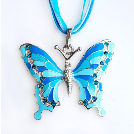 Painted Alloy Flower Butterfly Necklace