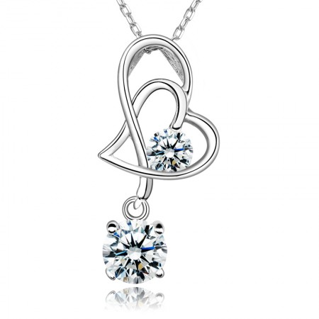 Beautiful Meaning Heart Connected 925 Sterling Silver Inlaid Cz Necklace