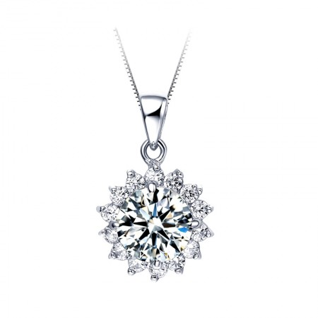 Romantic And Charming Sunflower Series S925 Silver Inlaid Cubic Zirconia Necklace