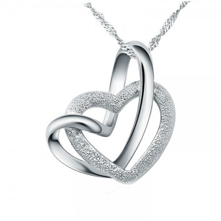 Featured Original Design 925 Sterling Silver Double Heart Interlocking Necklace