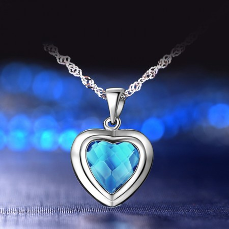 Korea New 925 Sterling Silver Inlaid Blue Cubic Zirconia Necklace