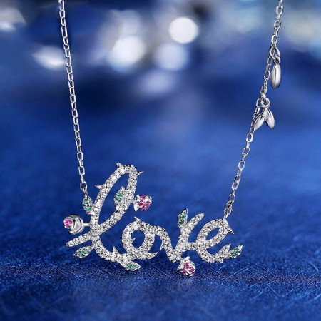 "Luxury 925 Sterling Silver Inlaid Shining Bright Cubic Zirconia ""LOVE"" Necklace"