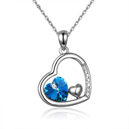 New Have Mutual Affinity S925 Silver Love Inlaid Stones Necklace