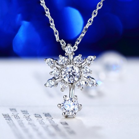 Classic Romantic Snowflake Shape 925 Sterling Silver Women's Necklace