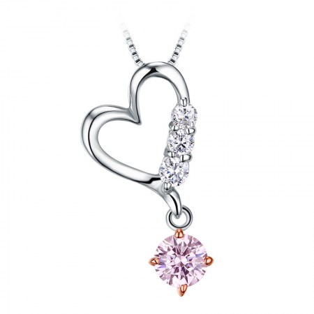 Romantic Gift 925 Silver Inlaid Cubic Zirconia Heart-Shaped Necklace