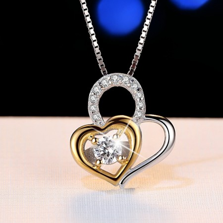 Creative Heart To Heart 925 Sterling Silver Plated Gold Inlaid Cubic Zirconia Necklace