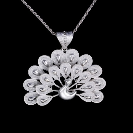 Original Handmade Sterling Silver Peacock Creative Necklace