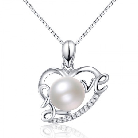 "S925 Silver ""LOVE"" Design Natural Pearl Necklace"