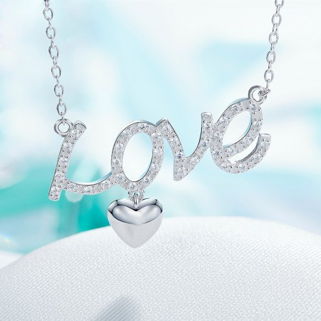 925 Silver Simple Love Expression Necklace With Heart-Shaped Pendant