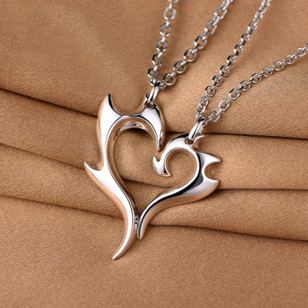 925 Silver Creative Love Heart Stitching Lovers Necklaces