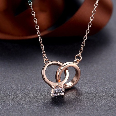 925 Silver Plated Rose Gold Couple Rings Pendant Woman's Necklace