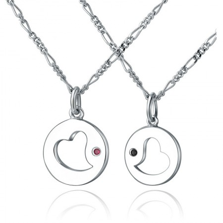 925 Silver Hollow Heart-Shaped Round Pendants Lovers Necklaces
